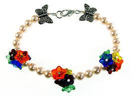 Jewelry Making Design Ideas Pressed Glass Flower Bracelet With Butterfly Beads And Swarovski