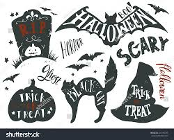 collection halloween symbols hand lettering trick stock vector