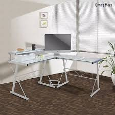 Home Office Glass Desk Uenjoy Pc L Shape Computer Glass Desk Corner Laptop Table