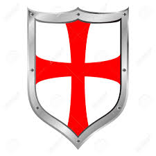 Red And White Flag With A Cross Knights Templar Shield On White Background Lizenzfrei Nutzbare