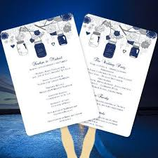 make your own wedding fan programs fan wedding programs rustic jars navy blue and gray make