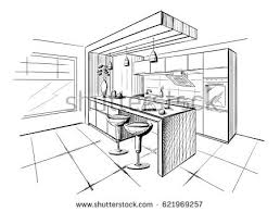 Interior House Drawing Kitchen Exquisite Kitchen Room Drawing Stock Vector Interior