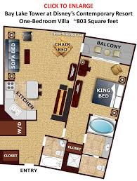 Grand Beach Resort Orlando Floor Plan by Floor Plan One Bedroom Villa Bay Lake Tower From Yourfirstvisit