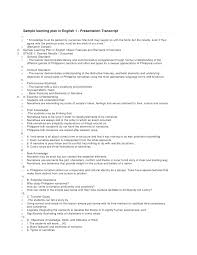 Resume In English Examples by Sample Learning Plan In English Slide