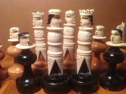 vintage chess set ivory bone with wood bases collectors weekly