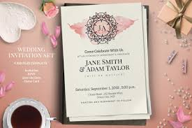 monogram wedding invitation set by webvilla thehungryjpeg com