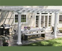 straight top attached shade pergola kit square columns