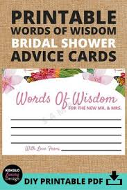 bridal shower words of wisdom cards wedding advice cards advice for the and groom guest book