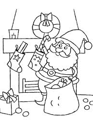 coloring pages of santa claus putting a candy cane into stocking