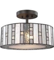 Bronze Semi Flush Ceiling Light by Elk 70213 2 Ethan 2 Light 14 Inch Tiffany Bronze Semi Flush Mount