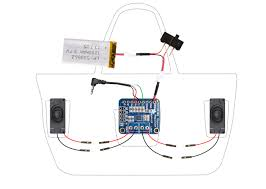 circuit diagram boombox beach bag with audio amp and speakers