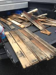 Headboard Made From Pallets He Carted These Old Pallets In His Truck To His Bedroom And Made