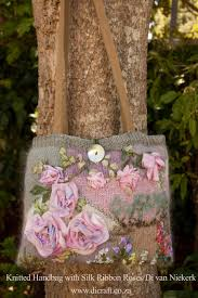 ribbon embroidery flower garden knitted bag with silk ribbon embroidery di van niekerk