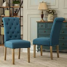 com roundhill furniture habit solid wood tufted parsons dining chair set of 2 blue chairs