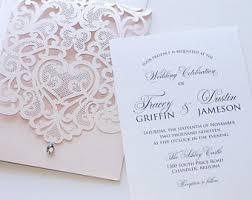 fancy wedding invitations lace wedding invitations etsy