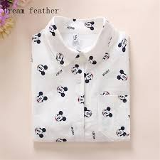 cat blouse feather s blouses sleeve cotton