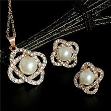 pearl necklace earring images 5013 gold plated diamond jewelry sets imitation pearl necklace jpg