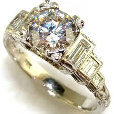 Crown Wedding Rings by Emerald Cut Diamond Crown Engagement Ring The Jewelers Guild