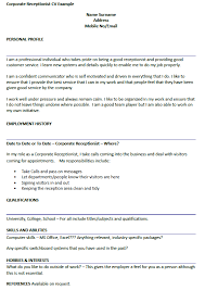 resume exles for receptionist cv receptionist pertamini co