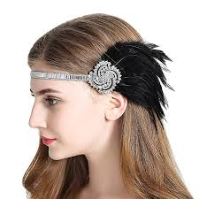 1920s hair accessories vintage flapper headband 1920s deco gatsby feather headpiece