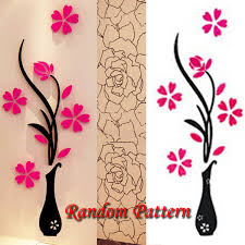 Home Decor Decals 3d Vase Removable Flower Tree Crystal Acrylic Wall Sticker Home