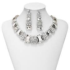 prom necklace prom jewelry set rhinestone necklace and earrings silver