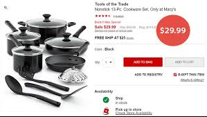 cookware sets black friday deals macy u0027s tools of the trade nonstick 13 pc cookware set 29 99