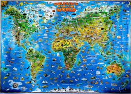 United States Wall Map Laminated by Wall Map Children U0027s Map Of The World Laminated Dino Maps
