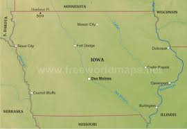 Iowa State Map Physical Map Of Iowa