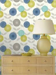 Non Permanent Wallpaper by Feature Wallpaper Monroe Teal Blue Green Grey Retro Floral Leaf