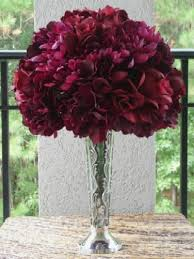 Vases For Bridesmaid Bouquets Burgundy Silk Hydrangea And Roses Are Designed In A Dome Shape On