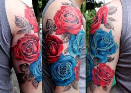 roses arm sleeve tattoo 3d blue rose with pocket watch tattoo design by lindsay