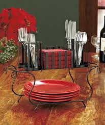 metal buffet caddy 4 plates napkins christmas thanksgiving holiday