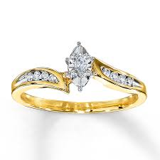 marquise cut diamond ring diamond engagement ring 1 8 carat marquise cut 10k yellow gold