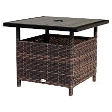 Wicker Accent Table Outsunny Rattan Wicker Outdoor Accent Table Garden Patio Side Desk