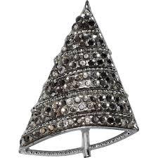 bj beatrix signed silver swarovski tree pin
