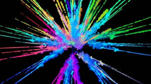 colorful colors explosion of powder isolated on black background 3d animation of