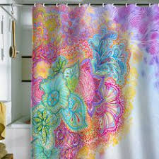Bright Colored Curtains Bathroom Featuring African Tribal Art And Patterned Mudcloth