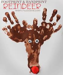 Kids Reindeer Crafts - footprint u0026 handprint reindeer craft it wont be a reindeer just