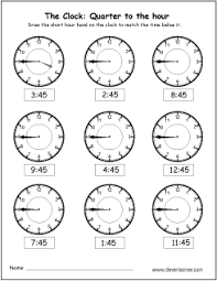 free quarter to the hour worksheets for 1st and 2nd graders