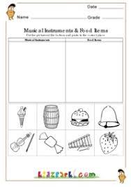 musical instruments and food items worksheet evs worksheets kids