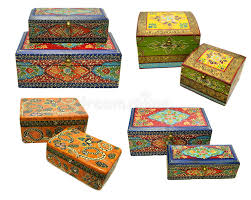 set with indian ornamental boxes stock photo image 58413208