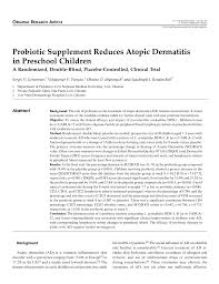 Double Blind Research Probiotic Supplement Reduces Atopic Dermatitis In Preschool