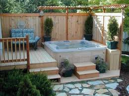 fence ideas for small backyard hot tub in small backyard with privacy fence ideas home interior