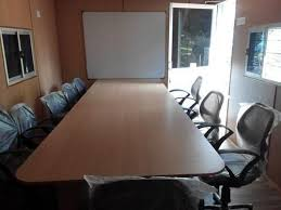 Portable Meeting Table Wood Steel Any Color Portable Meeting Room Cabin Rs 175000