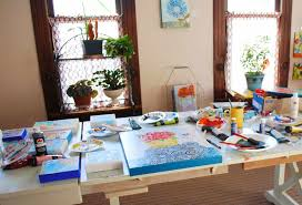 Art Studio Desk by Julie King Original Art