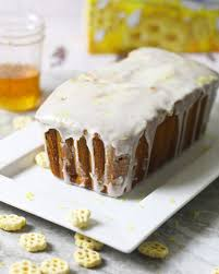 honeycomb cereal pound cake with honey lemon glaze ev u0027s eats