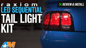 96 98 mustang tail lights 1996 2004 mustang raxiom led sequential tail light kit review