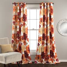 Orange Panel Curtains Amazon Com Lush Decor Leah Room Darkening Window Curtain Panel