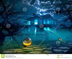 halloween photo background halloween night background with scary house 3d stock illustration